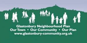 sillhouettes of people set against background of the Tor with caption Our Town - Our Community - Our Plan