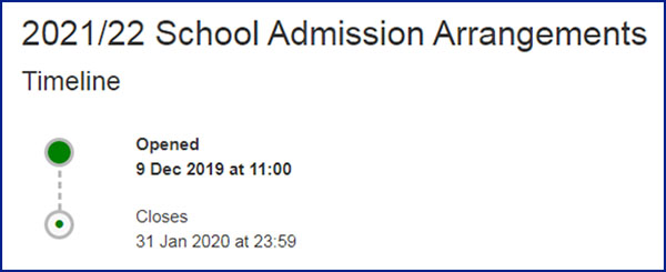 2021/2022 Schools Admission Arrangements Timeline. Opened 9th Dec - closes 31 Jan.